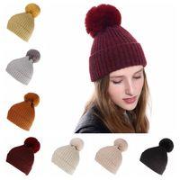 chapéu de pele da mulher venda por atacado-Mink e pele de raposa bola cap pom poms chapéu do inverno para as mulheres chapéu da menina gorros de malha cap nova marca grossa feminino cap