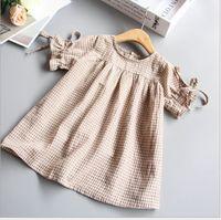 korean casual clothes for girls toptan satış-Kızlar İpli Manşet Ekose Gömlek Elbiseler Yaz 2019 Çocuklar Butik Giyim Kore 2-7Y Küçük Kızlar Kısa Kollu Casual Tops
