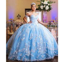 Wholesale coral sparkle prom dress resale online - Sparkling Sweetheart Lace Quinceanera Dresses Light Sky Blue Tulle Applique Ball Gown Sweep Train Party Princess Prom Dresses