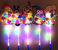Wholesale wheel fan for sale - Group buy KIDS LED cartoon windmill toys colorful pinwheel night lights Flower duck dog pet children toy boys girls fan wheel party decoration SN3787