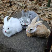 weißer kaninchenplüsch großhandel-15 CM Mini Realistische Nette Weiße Plüsch Kaninchen Fell Lebensechte Tier Osterhase Simulation Kaninchen Spielzeug Modell Geburtstagsgeschenk