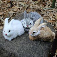 Wholesale white bunny toy for sale - Group buy 15CM Mini Realistic Cute White Plush Rabbits Fur Lifelike Animal Easter Bunny Simulation Rabbit Toy Model Birthday Gift