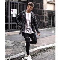 çocuklar pantolon kırpılmış toptan satış-Siyah Kalem Pantolon Erkek İlkbahar dökümlü Jean Pantolon Genç Boy Sokak Ripped Jeans