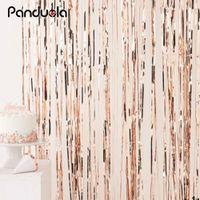 Wholesale black photo backdrop resale online - Rose Gold Metallic Foil Tinsel Fringe Curtain Door Rain Wedding Birthday Party Decoration Backdrop Background Photo Props