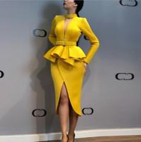 yüksek boyunlu örgü toptan satış-Yeni İlkbahar ve Sonbahar Kadın Moda Uzun Kollu Örgü V Yaka Uzun Kollu Yüksek Bel Bölünmüş Çatal Elbise