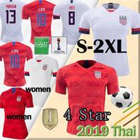 estrelas t shirts venda por atacado-4 Estrela 2019 Copa Do Mundo Mulheres EUA Camisas de Futebol LLOYD MORGAN RAPINOE maillot de pé PULÍSICA DEMP DOS EUA DOS EUA top tailândia T-shirt