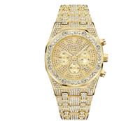 movimientos de cuarzo para relojes. al por mayor-Shinning Diamond Watch Todo Subdial Work Relojes de lujo para hombre Helado Hombres Función de cronógrafo Movimiento de cuarzo Reloj de pulsera Royal Oak Party