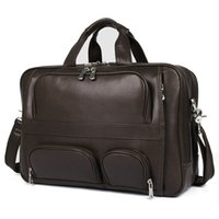 Wholesale big bag travel large for sale - Group buy Vintage Black Coffee Large Big Genuine Leather Laptop Office Men Briefcase Portfolio Business Travel Messenger Bag