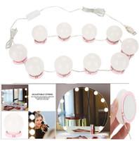 espejo al por mayor-Espejo de maquillaje Vanity Kit de bombillas de luz LED Puerto de carga USB Cosmético iluminado Espejos de maquillaje Bulbo Luces de brillo ajustable