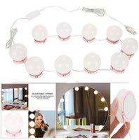 ayna ampulü toptan satış-Makyaj Aynası Vanity LED Ampuller Kiti USB Şarj Portu Kozmetik Işıklı makyaj Aynaları Ampul Ayarlanabilir Parlaklık ışıkları