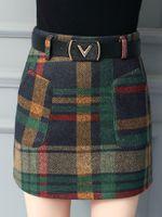 длина талии оптовых-OLOEYCasual slim plaid wool A word half-length skirt High waist plaid bag hip step skirt plus size 4XLXDQ193