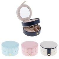 couro de duas camadas venda por atacado-Duas Camadas PU Leather portátil de armazenamento de jóias de exibição Brincos Studs anel caixa caso