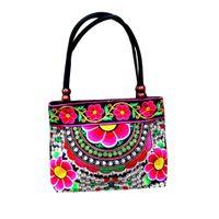 perlenstickerei taschen großhandel-Blumendruck Frauen Vintage Tasche Chinesische Eigenschaften Stickerei Handtasche Ethnische Leinwand Holzperlen Umhängetasche