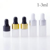 Wholesale small bottles for essential oils resale online - Small glass bottles ml ml ml frosted clear glass sample vials with black gold silver cap for essential oil sub bottle