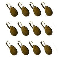 takı ayarları toptan satış-12 adet Gözyaşı Cabochon Ayarları Küpe Boşluklar Takı Bulguları Bronz