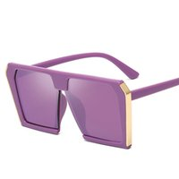 uma peça de cor azul venda por atacado-2019 Moda Quadrado Óculos De Sol Das Mulheres Designer de Marca de Grandes Dimensões Gradiente Azul Preto One Piece Óculos De Sol Novo Estilo UV400 6 CORES