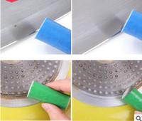 ingrosso pulizia magica della spazzola-In acciaio inox metallo Rust Remover Kitchen Pan Magic Cleaning Brush Stains Remover Stick di lavaggio 2 Pz / set