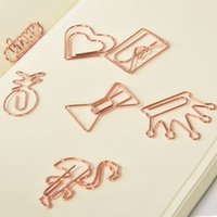 Wholesale paper clips resale online - Creative Metal Paper Clips Rose Gold Crown Flamingo Paper Clips Bookmark Memo Planner Clips School Office Stationery Supplies BH2529 TQQ