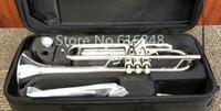 ingrosso bb perla-Nuovo arrivo Jupiter JTR-1100 ottone tromba in Sib placcato argento strumento di alta qualità pulsante perla con bocchino e custodia
