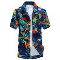envío gratis ropa asiática al por mayor-Camisa hawaiana para hombre camisa ocasional masculina camisa de playa impresa de manga corta ropa envío gratis tamaño asiático 5XL
