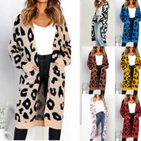 strickmuster groihandel-Frauen gestrickte Jacken der beiläufigen Frauen-Marken-Entwerfer Pullover Luxuxleopard Muster Lange windundurchlässiges Mädchen Herbst Kleidung 10 Styles