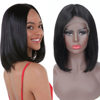 Wholesale unprocessed brazilian human hair wigs for sale - Group buy 4x13 Bob Wig Peruvian Straight Short Lace Front Human Hair Wigs Unprocessed Peruvian Straight Bob Wigs inch