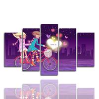 bisiklet çerçeve boyama toptan satış-5adet You Resimler Asma Bisiklet Karikatür Görüntü Wall Art HD Baskı Tuval Boyama Moda In Tatlı Çift Aşk (Yalnızca Hayır Frame Kanvas)