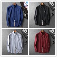 camisas formales de marca para hombres al por mayor-Venta al por mayor 2018 Nueva Marca Primavera Otoño Casual Hombres Camisa de manga larga de algodón de alta calidad formal de negocios Plaid Mens Dress Shirts Plus