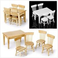kits de muebles de casa de muñecas de madera al por mayor-5 unids madera mesa de comedor silla modelo conjunto 1:12 escala casa de muñecas de juguete en miniatura casa de cocina casa de muñecas kits de muebles blanco