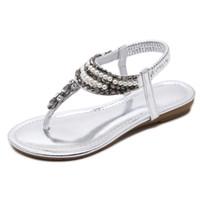 ingrosso tacchi in boemia-Scarpe da donna perizoma romana Pearl Beach Sandali con tacco basso stile sandali con zeppa