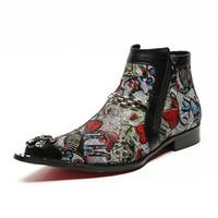 ingrosso stivali a punta di punta per l'uomo-Gli uomini in vera pelle tacco basso Handmade abito stivali da uomo punta di metallo a punta colorata Cystal Mens Boots 39-46