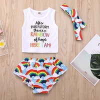 Wholesale cloud clothes resale online - Baby Girl Three pieces Suits White Clouds Rainbow Letter Printed Headband Vest Culottes Baby Girl Clothes Newborn Round Collar Tops Suits