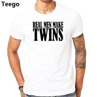 baba tişört toptan satış-Gerçek Erkekler Twins Yapmak MARKA T-Shirt Komik Baba Baba Olmak TEE Hamile Annelik Baba MARKA ERKEKLER T Shirt
