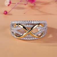 Wholesale white gold infinity ring for sale - Group buy Crystal Gold Infinity Ring Contrast Color Diamond rings Fashion Engagement Wedding Rings Fashion Jewelry gift fot Women