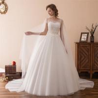 organza wedding dress black belt 도매-백업 쉬어 목 레이스와 랩 로맨틱 공주 볼 가운 웨딩 드레스 2019 성 흰색 레이스 웨딩 드레스