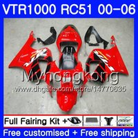 Wholesale rc51 red fairing resale online - Kit For HONDA VTR1000 RC51 SP1 SP2 HM RTV1000 VTR Fairing Factory red blk