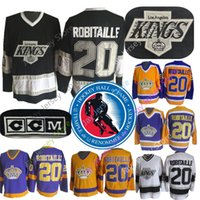 ingrosso vecchi pullover di hockey ccm-20 Maglia Luc Robitaille con Hockey Hall of Fame del 2009 Patch Los Angeles Kings CCM Old Time Jersey Oro giallo Viola Nero Bianco