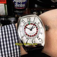 relógios russos venda por atacado-6 cores 8880 las vegas cassino russa turntable mostrador branco automático mens watch 316l aço case pulseira de couro de alta qualidade relógios