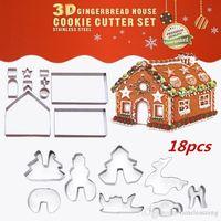 haus kekse großhandel-18PCS / SET Edelstahl Plätzchenform Thema Weihnachten 3D DIY Doppelzuckerkuchenform Knusperhäuschen Metallkuchenschneider Formkastenpaket