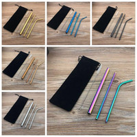 Combination Drinking Straws Reusable Stainless Steel Drinking Straws Customized Bag Packing 4+1 with Cleaning Brush CCFYZ1