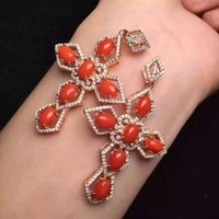 Wholesale natural gemstone crosses for sale - Group buy Natural red coral pendant S925 silver Natural gemstone Pendant Necklace trendy Elegant Luxury big cross women girl party jewelry