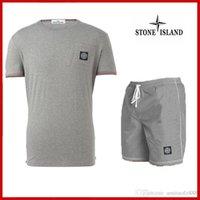 erkek spor takımları toptan satış-Erkekler için eşofman yaz rahat erkek kısa spor eşofman erkek kıyafet suit moda t-shirt ve şort