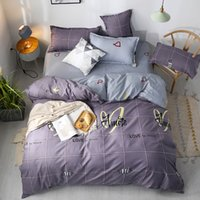Wholesale love bedding sets king resale online - Big Lattice Bedding Set Queen Size Classic Soft Purple Duvet Cover Love King Twin Full Single Double Bed Cover with Pillowcase