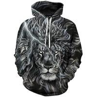 digitale galaxiesweatshirts großhandel-2019 Unisex Junge Mädchen Galaxy Tier 3D Digital Print Pullover Hoodie Mit Kapuze Fleece Sweatshirt LYM039-048