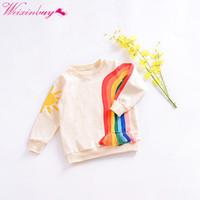 детское радужное пальто оптовых-Kids Sweatshirts girls Baby Clothes Tops Long Sleeve Coat Lovely Rainbow Tassel Cartoon Sun Printed