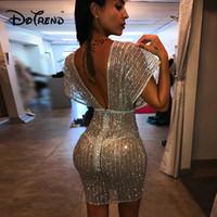 sexy club transparente kleider großhandel-2019 Mode Glänzende Pailletten Kleid Frauen Tiefem V-ausschnitt Backless Mesh Transparent Sexy Frauen Party Kleider Elegante Dame Vestidos