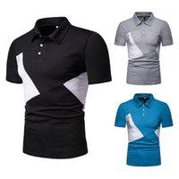 neue t-shirt design farbe männer großhandel-Neue angekommene 2019 mode neue design farbe passenden geometrie männer revers kurzarm t shirts polo mann shirts