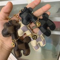 Wholesale giraffe key ring resale online - Cartoon Giraffe Key Ring Car Fashion Bag Charms Pendant Gift Key Chains for Men Women PU Leather Animal Cat Design Keyrings Keychains Holder