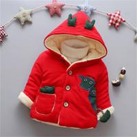 erkek çocuk ceket toptan satış-Kaliteli bebek erkek mont ceketler kış sıcak bebek karikatür dowm parkas giyim toddle pamuk polar kadife kapşonlu kar giymek