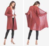 chaqueta de manga drapeada al por mayor-Womens Thin Section calado abrigo suéter de manga larga drapeado Cardigan Shawl Jacket 5 Color Eur tamaño M-xl